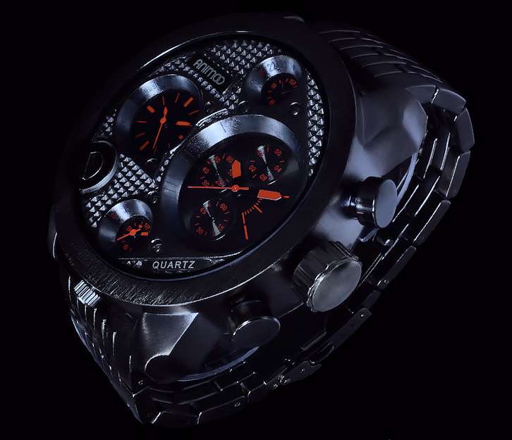animoo xxl monster watch armband herren uhr schwarz orange dual tritimer 3 werke ebay. Black Bedroom Furniture Sets. Home Design Ideas