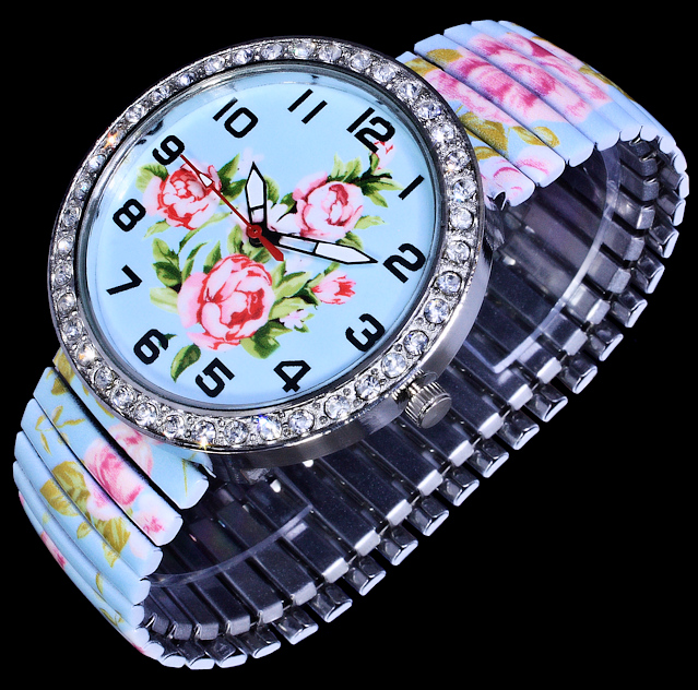 donna kelly uhr damenuhr flex armband uhr hellblau gr n rosa strass rosen blumen ebay. Black Bedroom Furniture Sets. Home Design Ideas