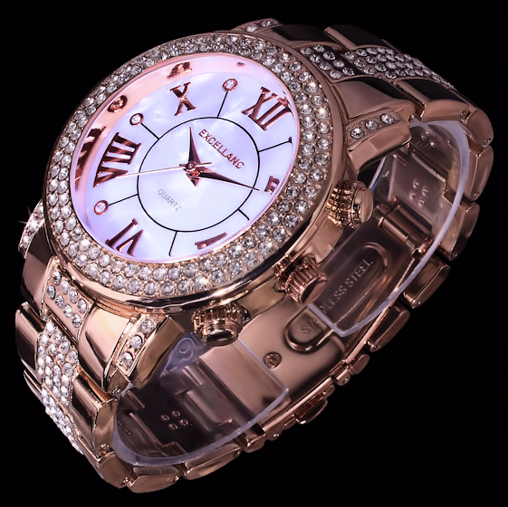 excellanc damen uhr armbanduhr wei rose gold farben metall strass perlmutt look ebay. Black Bedroom Furniture Sets. Home Design Ideas
