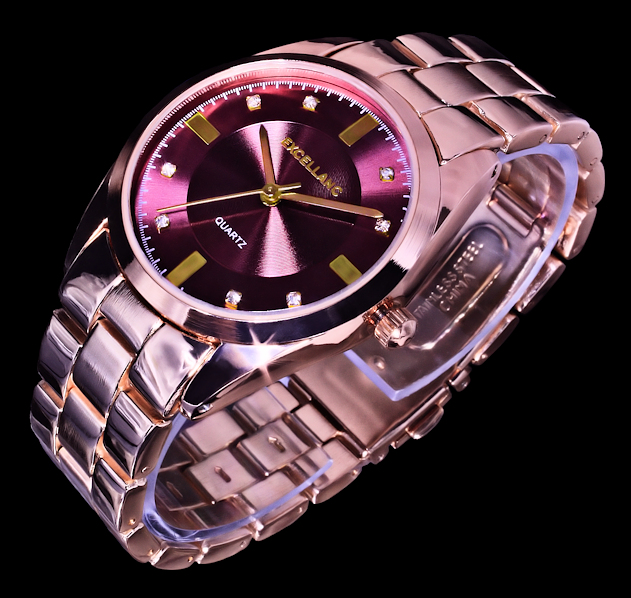 excellanc damen uhr armbanduhr bordeaux rot rosegold gold farben metall strass ebay. Black Bedroom Furniture Sets. Home Design Ideas