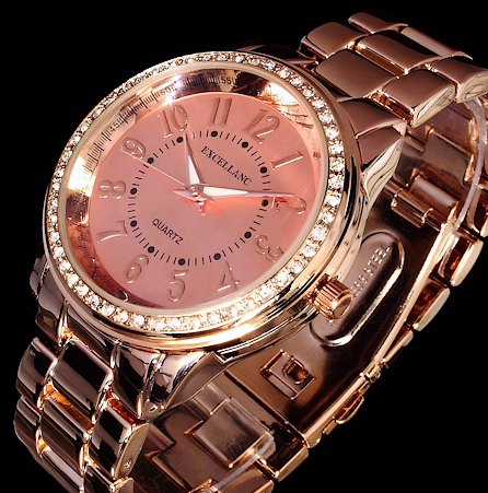 excellanc damen uhr armbanduhr rose gold farben strass metall 1 ebay. Black Bedroom Furniture Sets. Home Design Ideas