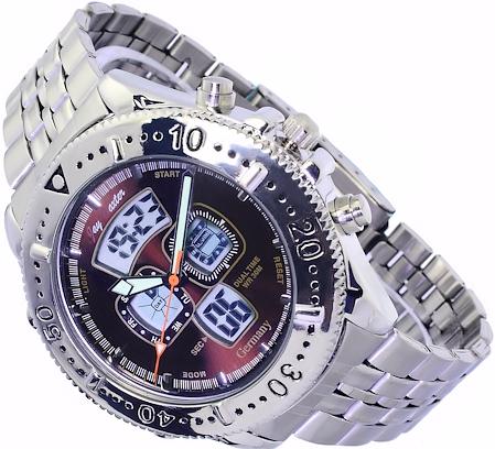 jay baxter analog digital uhr herrenuhr armbanduhr in braun mit licht ebay. Black Bedroom Furniture Sets. Home Design Ideas